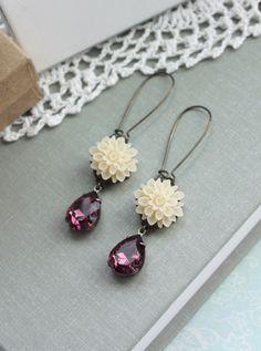 A Soft Ivory Chrysanthemum Flower, Vintage Purple Amethyst Pear Jewel Earrings. Vintage Inspired. Bridesmaids Gifts. Maid of Honor.. $21.90, via Etsy.
