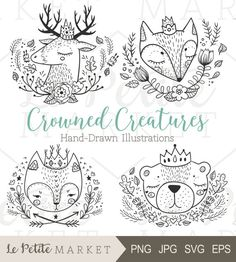 Cute Hand Drawn Forest Animals, Forest Animals with Crowns, Hand Drawn Woodland Animals, Woodland Creatures Portraits, Cat Fox Bear Deer