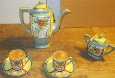 Vintage 1930's Orange Blossom Luster Tea Set Japan Lusterware 8 piece