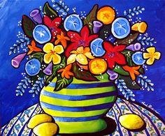 Colorful Floral Bouquet Whimsical Fun Folk by reniebritenbucher, $129.00