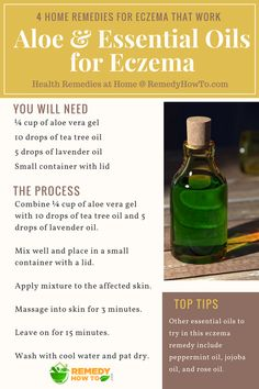 Learn how to beat Eczema with natural ingredients like aleo vera, tea tree oil and lavender oil at home.