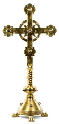 An Brass Crucifix Inlaid With Precious Stones