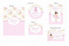 Kit Digital Bailarina - Floral Rosa e Branco - Charme Papeteria