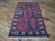 Vintage Persian Area Rug - Cute Red Navy Area Rug, Bedroom Area Rug 3x6
