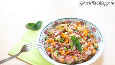 Mix+di+cereali+con+verdure+e+carne+in+scatola+|+Ricetta