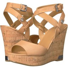 GUESS Harana (Ambra) Women's Wedge Shoes ($81) ❤ liked on Polyvore featuring shoes, sandals, cork wedge sandals, guess sandals, open toe wedge shoes, crisscross platform sandals and open toe sandals