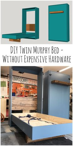 DIY Twin Murphy Beds – Without Expensive Hardware Camas Twin Murphy de bricolaje – Sin hardware costoso – the Awesome Orange Related posts: DIY Murphy Desk Planes de cama Murphy DIY // Kit de hardware de cama Murphy DIY Cama Murphy, Build A Murphy Bed, Murphy Bed Plans, Murphy Beds, Build A Bed, Murphy Bed With Desk, Twin Size Murphy Bed, Murphy Bed Frame, Murphy Bed Office