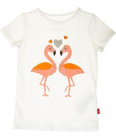 Name It cèmekleurige t-shirt met verliefde flamingos. name-it.nl.emilea.be