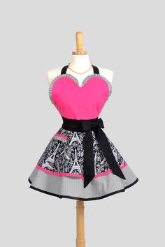 Sexy Retro Pinup Apron . Flirty and Cute Retro Womans Apron with Michael Millers Eiffel Towers Hot Pink Sweetheart  Apron. $45.00, via Etsy.