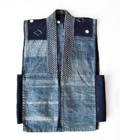 "Japanese Indigo Boro Vest boro_kimono Boro is a Japanese word meaning ""tattered rags"" and it's the term commonly used to describe patched and repaired cotton bedding and clothing lovingly used much longer than the normally expected life cycle. Boro, A Well Traveled Woman, Denim Ideas, Japanese Textiles, Japanese Fabric, Vest Pattern, Indigo Dye, Old Jeans, Japanese Outfits"