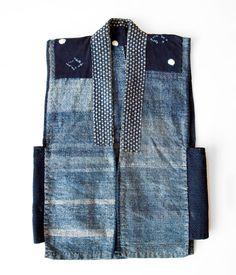 Japanese Indigo Boro Vest        Japanese, hand stitched, indigo boro vest