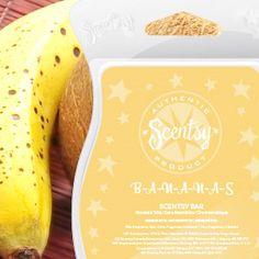 B-A-N-A-N-A-S Scentsy Bar.  A delicious tropical banana mixed with coconut milk and island vanilla, reminiscent of banana-flavored taffy. #bananas