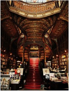 Lello Bookstore, the most beautiful bookstore in the world is in Porto Portugal. This would be worth planning a trip around, even though I don't speak Portuguese.