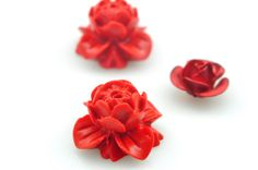 10 pcs of Vintage Carved Cinnabar,red lotus Spacer beads,Synthetic lotus flower Beads in 12mm wide X 12 mm length