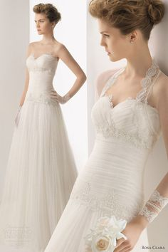 rosa clara 2014 soft universo strapless wedding dress sheer lace bolero jacket