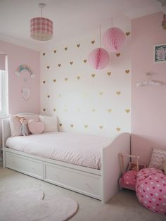 Amelie's bedroom has to be my favourite room in our home. When we chose the theme for her room we went for girly, magical, a… - Amelie's Soft Pink and Gold Toddler Bedroom Pink Bedroom Design, Pink Bedroom Decor, Girl Bedroom Designs, Baby Room Decor, Girls Room Design, Girl Bedroom Decorations, Bedroom Sets, Pink Gold Bedroom, Polka Dot Bedroom