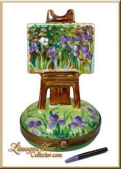 """IRISES"" Van Gogh Painting on Easel Limoges Box by Beauchamp"