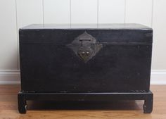 Vintage Chinese Black Lacquer Trunk with Stand // by MyBarn