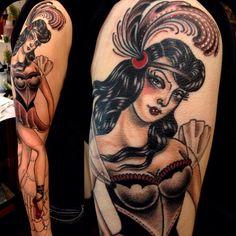 Tattoo by Rose Hardy Rose Tattoos, New Tattoos, Girl Tattoos, Tattoo Girls, Rose Hardy, Circus Tattoo, Traditional Tattoo Art, Cartoon Tattoos, Cool Tats