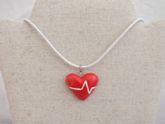 SALE Red heart beat polymer clay necklace normal by DoobryWhatsit