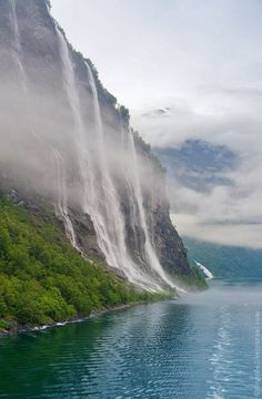 The Seven Sisters at Geiranger fjord, Norway