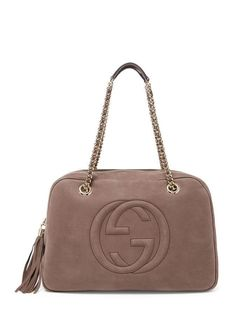 0626b9041e1f57 Gucci SOHO GG Nubuck Leather Chain Shoulder Hand Bag Tote Taupe Grey $1760 # hand #tote #taupe #grey #shoulder #chain #soho #nubuck #leather #gucci