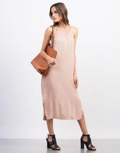 Strappy High Neck Midi Dress