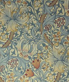 William Morris wallpaper Golden Lily I have this as teatowels. from William Morris Museum William Morris Wallpaper, William Morris Art, Morris Wallpapers, Lily Wallpaper, Fabric Wallpaper, Pattern Wallpaper, Kitchen Wallpaper Red, Art Nouveau, Textures Patterns