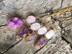 Pink Druzy Triangle & Rose Quartz Gold Pendant Necklace - Long Layering Necklace - Boho Chic Jewelry by Adrienne Adelle adrienneadelle.com