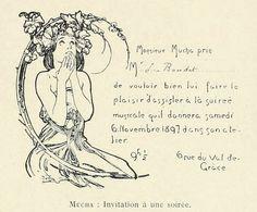 1897 Art Nouveau Invitation by Alphonse Mucha