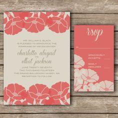 Poppy Wedding Invitation & RSVP by TulleAndMint on Etsy, $20.00
