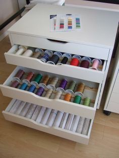 Tamarack Shack: Thread Storage. This is the Alex set of drawers from Ikea - the plywood dividers have been added. What a great idea for thread storage.