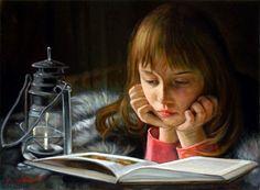 Bambina che legge by Giuseppe Cacciapuoti born 1969 in Napels, Italy Italian Painters, Italian Artist, I Love Books, Books To Read, Woman Reading, Reading Art, Children Reading, Reading Books, World Of Books
