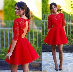 NextProm.com Offers High Quality Red Half Sleeve Keyhole Back Lace Bodice Knee Length Homecoming Dress ,Priced At Only USD $99.00 (Free Shipping)