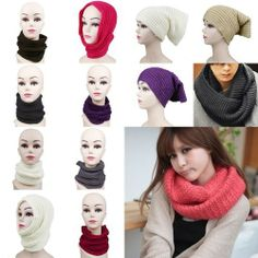 Women Winter Hollow Knitted Infinity Circle Pullover Scarf Wrap Thick Warm Hat #eozy