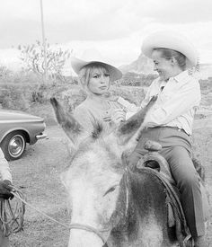 Brigitte Bardot and Jeanne Moreau on the set of Viva, Maria!, 1965