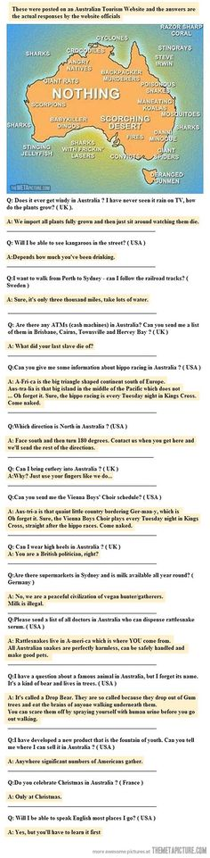 Ahaha the questions and answers are killin' me!Oh, you silly Australians…