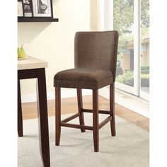@Overstock.com - Upholstered Parson Barstool - This casual styled bar stool will be a wonderful addition to your casual entertainment and dining room. A contoured back and seat are covered in parson brown textured fabric with espresso finished square wood legs.  http://www.overstock.com/Home-Garden/Upholstered-Parson-Barstool/6331076/product.html?CID=214117 $76.49