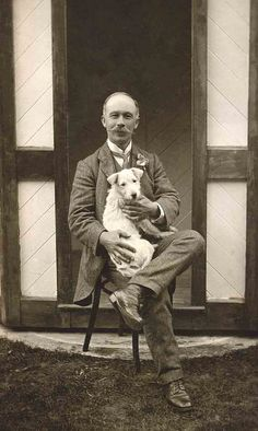 Vintage photo, pleasant-looking gentleman with large mustache, holding a small white dog on his lap. Photos With Dog, Dog Pictures, Jack Russell Terriers, Hachiko, Me And My Dog, Wire Fox Terrier, Tier Fotos, Vintage Dog, Old Dogs