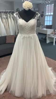 Beautiful a line style with an illusion neckline, illusion lace capped sleeves, a sweetheart bodice and full tulle skirt Discount Designer Wedding Dresses, Illusion Neckline, Dream Wedding Dresses, Bridal Boutique, Townhouse, Dreaming Of You, Our Wedding, Bodice, Tulle