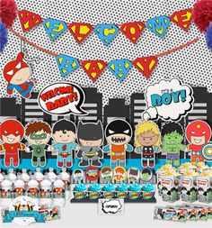 Superhero baby shower party pack. Printable