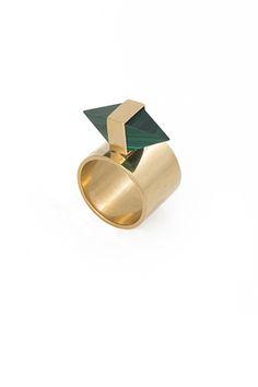 Kelly Wearstler Jewelry | Pavlov Ring | Malachite, 24k gold plated brass  www.kellywearstler.com