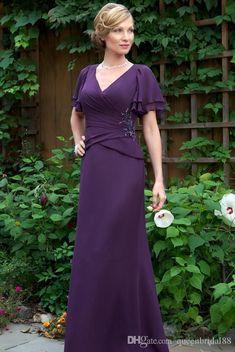 Purple short sleeve plus size v-neck beaded mother dresses/gowns chiffon Short Sleeve Prom Dresses, Mob Dresses, Satin Dresses, Chiffon Dress, Short Sleeves, Cheap Dresses, Girls Dresses, Long Sleeve, Wedding Dresses For Kids