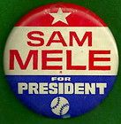 Minnesota Twins Baseball Pinback button Pin Advertising Sam Mele Political - Advertising, Baseball, Button, Mele, Minnesota, PINBACK, Political, Twins