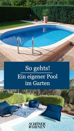 Pool in the garden: how it works with your own swimming pool - Modern Hydroponic Gardening, Hydroponics, Back Gardens, Small Gardens, Indoor Garden, Outdoor Gardens, Outdoor Venues, Outdoor Decor, Growing Plants