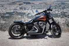 Alexis' Harley Davidson Fat Bob with extended Voodoo Fender | Rocket Bobs