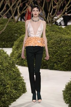 Dior Haute Couture Spring-Summer 2013 – Look 22: Embroidered powder silk top on dark green wool pants. Discover more on www.dior.com #Dior#PFW