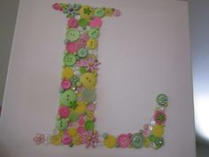 Little Girls Room Initial Buttons..Fabulous for Baby Shower Decor. 12 x 12 Canvas.. In ANY COLORS you choose. $29.99, via Etsy.