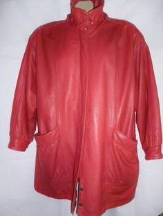 Women's JACQUELINE FERRAR Red Genuine Leather Lined Coat Jacket Zippr & Brass XL #JacquelineFerrar #BasicCoat