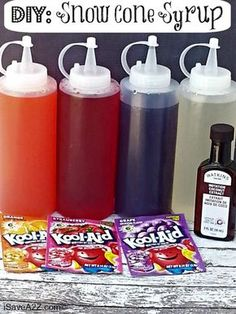 DIY your own snow cone syrup using packets of Kool-Aid. DIY your own snow cone syrup using packets of Kool-Aid. The post DIY your own snow cone syrup using packets of Kool-Aid. appeared first on Pink Unicorn. Frozen Desserts, Frozen Treats, Frozen Drinks, Gelato, Sno Cones, Good Food, Yummy Food, Summer Treats, Summer Recipes